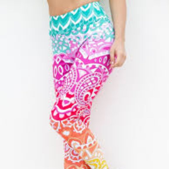 Peter Popovitch Pants - Peter Popovitch Printed Capri Leggings Pink Small
